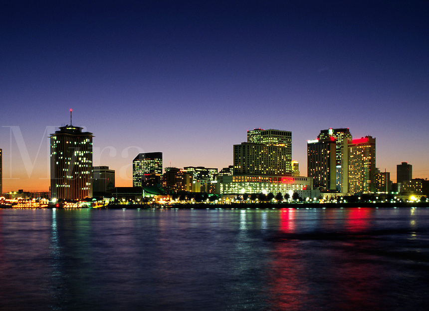NEW ORLEANS as seen at night across the MISSISSIPPI RIVER - LOUISIANA