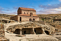 Picture & image of the medieval Christian Basilica, Uplistsikhe (Lords Fortress) troglodyte cave city, near Gori, Shida Kartli, Georgia. UNESCO World Heritage Tentative List<br /> <br /> Inhabited from the early Iron age to the late middle ages Uplistsikhe cave city eas, during the Roman & Hellenistic period, home to around 20,000 people.