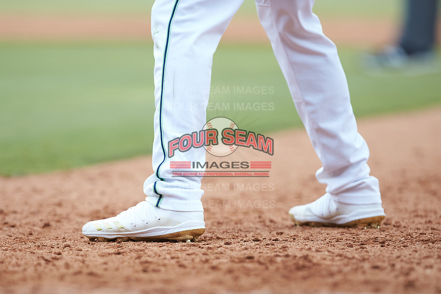 A closeup of the Adidas baseball cleats worn by Gwinnett Stripers outfielder Cristian Pache (15) during the game against the Scranton/Wilkes-Barre RailRiders at Coolray Field on August 18, 2019 in Lawrenceville, Georgia. The RailRiders defeated the Stripers 9-3. (Brian Westerholt/Four Seam Images)