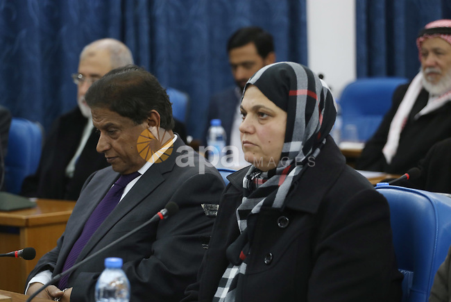 Members of the Palestinian legislative council from Hamas movement attend a meeting at the legislative council in Gaza city, on December 21, 2016. Photo by Mohammed Asad