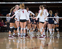 STANFORD, CA - December 1, 2018: Tami Alade, Meghan McClure, Kathryn Plummer, Morgan Hentz, Jenna Gray, Audriana Fitzmorris at Maples Pavilion. The Stanford Cardinal defeated Loyola Marymount 25-20, 25-15, 25-17 in the second round of the NCAA tournament.