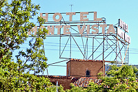 Hotel Monte Vista sign in Flagstaff Arizona on Route 66.
