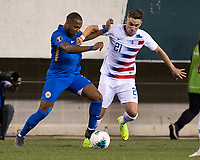 PHILADELPHIA, PA - JUNE 30: Gevaro Nepomuceno #11 and Tyler Boyd #21 go for the ball during a game between Curaçao and USMNT at Lincoln Financial Field on June 30, 2019 in Philadelphia, Pennsylvania.
