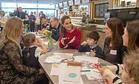 04/02/2020 -  Kate  Middleton, Duchess of Cambridge during a visit to Joe's Ice Cream Parlour in the Mumbles Swansea  where they met a group of local parents and carers to hear about life in the Mumbles and talk about The Duchess's landmark survey on the early years 5 Big Questions on the Under Fives. The survey was launched on the 21st January and aims to spark a UK-wide conversation on raising the next generation. Photo Credit: ALPR/AdMedia