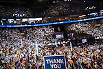 An audience member holds a sign thanking veterans at the Democratic National Convention on Thursday, September 6, 2012 in Charlotte, NC.