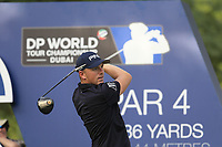 Matt Wallace (ENG) on the 16th tee during the 2nd round of the DP World Tour Championship, Jumeirah Golf Estates, Dubai, United Arab Emirates. 16/11/2018<br /> Picture: Golffile | Fran Caffrey<br /> <br /> <br /> All photo usage must carry mandatory copyright credit (© Golffile | Fran Caffrey)