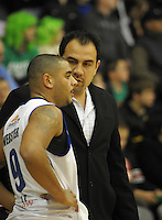 Saints coach Pero Cameron talks to Corey Webster. NBL  - Manawatu Jets  v Wellington Saints at Arena Manawatu, Palmerston North, New Zealand on Friday 17 June 2011. Photo: Dave Lintott / lintottphoto.co.nz