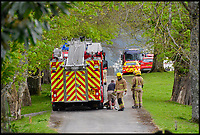 Bmth News (01202 558833)<br /> Pic:  GrahamHunt/BNPS<br /> <br /> Fire crews at the house the day after it burned down in suspicious circumstances.<br /> <br /> An historic stately home that burned to the ground in a devastating arson attack has been put up for sale for &pound;3m - &pound;12m less than what it was worth.<br /> <br /> Grade I listed Parnham House, near Beaminster, Dorset, is now just a charred shell of the magnificent mansion it once was.<br /> <br /> It was destroyed in the huge blaze in April last year and its millionaire owner, hedge fund manager Michael Treichl, was arrested on suspicion of starting the fire.<br /> <br /> But while on police bail, Mr Treichl, 69, was found drowned in Lake Geneva, Switzerland, in an apparent suicide.<br /> <br /> Despite initial vows by the family that they would rebuild the 500-year-old home, receivers have been brought in by the mortgage lenders to sell what remains of the property.