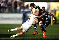 Guy Mercer of Bath Rugby is tackled. Aviva Premiership match, between Bath Rugby and Harlequins on October 31, 2015 at the Recreation Ground in Bath, England. Photo by: Robbie Stephenson / JMP for Onside Images