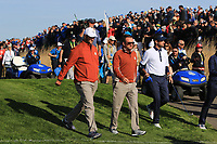 Jon Rahm and Graeme McDowell (Team Europe) at the 12th during Saturday Foursomes at the Ryder Cup, Le Golf National, Ile-de-France, France. 29/09/2018.<br /> Picture Thos Caffrey / Golffile.ie<br /> <br /> All photo usage must carry mandatory copyright credit (&copy; Golffile | Thos Caffrey)