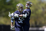 DURHAM, NC - APRIL 08: Notre Dame's Ryder Garnsey (50) celebrates his goal with Brendan Collins (right). The Duke University Blue Devils hosted the University of Notre Dame Fighting Irish on April 8, 2017, at Koskinen Stadium in Durham, NC in a Division I College Men's Lacrosse match. Duke won the game 11-8.