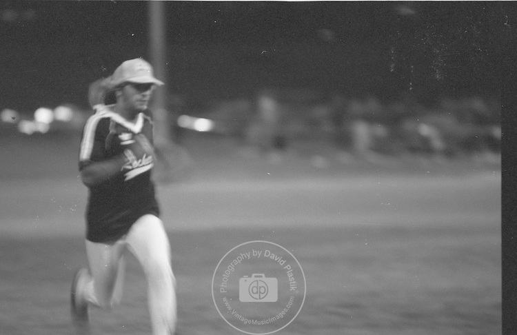 Vince Neil of Motley Crue in Playing Softball for Charity in March 1986.
