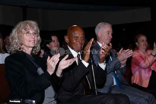 NEW YORK, NY - APRIL 3: Pamela Belafonte, Harry Belafonte, John McEnroe pictured as David N. Dinkins, 106th Mayor of the City of New York, receives the Dr. Phyllis Harrison-Ross Public Service Award for a lifetime of public service at the New York Society of Ethical Culture in New York City on April 3, 2014. Credit: Margot Jordan/MediaPunch