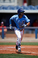 Charlotte Stone Crabs second baseman Peter Maris (3) runs to first base during a game against the Palm Beach Cardinals on April 12, 2017 at Charlotte Sports Park in Port Charlotte, Florida.  Palm Beach defeated Charlotte 8-7.  (Mike Janes/Four Seam Images)