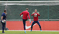 Under pressure Goalkeeper Joe Hart (Manchester City) of England warms up during an open England football team training session at Stade Omnisport, Croissy sur Seine, France  on 12 June 2017 ahead of England's friendly International game against France on 13 June 2017. Photo by David Horn/PRiME Media Images.
