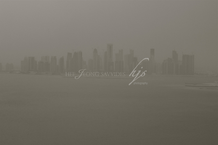 Rain in Qatar-View of West bay from the Pearl, Qatar | Nov 10