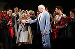 Michael Cerveris, Elena Roger, Andrew Lloyd Webber, Tim Rice, Ricky Martin & Max Von Essen with the Company.during the Broadway Opening Night Performance Curtain Call for 'EVITA' at the Marquis Theatre in New York City on 4/5/2012