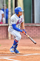 Kingsport Mets left fielder Guillermo Granadillo (4) swings at a pitch during a game against the Elizabethton Twins at Joe O'Brien Field on August 7, 2018 in Elizabethton, Tennessee. The Twins defeated the Mets 16-10. (Tony Farlow/Four Seam Images)