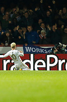GOAL - EzgjanAlioski of Leeds United celebrates in front of the travelling fans during the Sky Bet Championship match between Brentford and Leeds United at Griffin Park, London, England on 4 November 2017. Photo by Carlton Myrie.