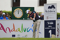 Marc Warren (SCO) tees off the 1st tee during Sunday's storm delayed Final Round 3 of the Andalucia Valderrama Masters 2018 hosted by the Sergio Foundation, held at Real Golf de Valderrama, Sotogrande, San Roque, Spain. 21st October 2018.<br /> Picture: Eoin Clarke | Golffile<br /> <br /> <br /> All photos usage must carry mandatory copyright credit (&copy; Golffile | Eoin Clarke)