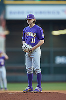 LSU Tigers starting pitcher Landon Marceaux (11) looks to his catcher for the sign against the Baylor Bears in game five of the 2020 Shriners Hospitals for Children College Classic at Minute Maid Park on February 28, 2020 in Houston, Texas. The Bears defeated the Tigers 6-4. (Brian Westerholt/Four Seam Images)