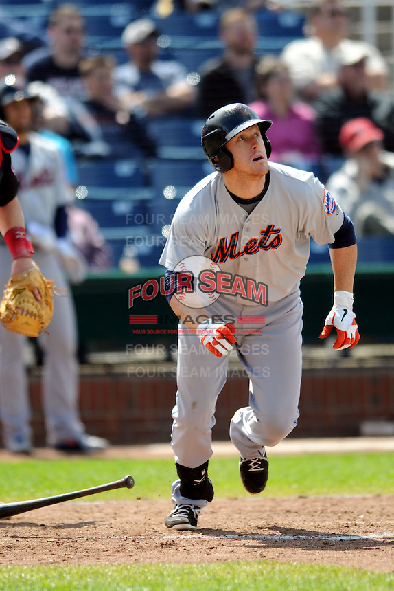 Binghamton Mets first baseman Allan Dykstra #24 during a game versus the Portland Sea Dogs at Hadlock Field in Portland, Maine on May 18, 2013.  (Ken Babbitt/Four Seam Images)