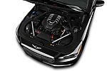 Car stock 2019 Genesis G90 Ultimate 4 Door Sedan engine high angle detail view