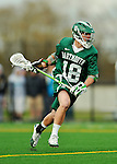 24 April 2012: Dartmouth College Big Green midfielder Colin Delaney, a Senior from Darien, CT, in action against the University of Vermont Catamounts at Virtue Field in Burlington, Vermont. The Big Green defeated the Catamounts 10-5 in Men's Varsity Lacrosse action. Mandatory Credit: Ed Wolfstein Photo