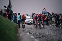 over the tricky Holleweg cobbles<br /> <br /> 102nd Ronde van Vlaanderen 2018 (1.UWT)<br /> Antwerpen - Oudenaarde (BEL): 265km