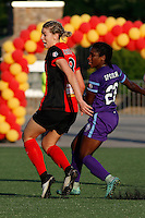 Rochester, NY - Saturday June 11, 2016: Western New York Flash defender Alanna Kennedy (8), Orlando Pride forward Jasmyne Spencer (23) during a regular season National Women's Soccer League (NWSL) match between the Western New York Flash and the Orlando Pride at Rochester Rhinos Stadium.