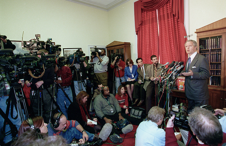 12-15-98.IMPEACHMENT VOTE--Tom Campbell,R-Calif.,during a  press conference to announce that he will vote for impeachment of the President of the United States..CONGRESSIONAL QUARTERLY PHOTO BY DOUGLAS GRAHAM