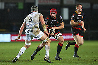 Cory Hill of Dragons is challenged by Dan Lydiate of Ospreys during the Guinness Pro 14 match between Newport Gwent Dragons and Ospreys at the Rodney Parade in Newport, Wales, UK. Sunday 31 December 2017