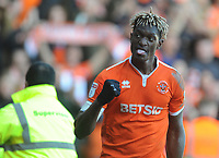 Blackpool's Armand Gnanduillet celebrates scoring his side's first goal <br /> <br /> Photographer Kevin Barnes/CameraSport<br /> <br /> The EFL Sky Bet League One - Blackpool v Southend United - Saturday 9th March 2019 - Bloomfield Road - Blackpool<br /> <br /> World Copyright © 2019 CameraSport. All rights reserved. 43 Linden Ave. Countesthorpe. Leicester. England. LE8 5PG - Tel: +44 (0) 116 277 4147 - admin@camerasport.com - www.camerasport.com