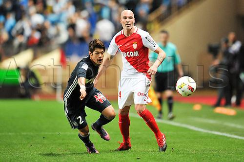 26.11.2016. Monaco, France. French League 1 football. Monaco versus Marseille.  Hiroki SAKAI (om) breaks up the wing away from ANDREA RAGGI (asm)