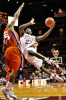 TALLAHASSEE, FL. 2/19/08-Florida State's Toney Douglas flies by Clemson's Cliff Hammonds during second half action, Tuesday in Tallahassee. Douglas was the high scorer for the Seminoles with 23 points. FSU beat Clemson 64-55. COLIN HACKLEY PHOTO