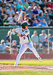 20 August 2017: Vermont Lake Monsters infielder Ryan Gridley, an 11th round draft pick for the Oakland Athletics, in action against the Connecticut Tigers at Centennial Field in Burlington, Vermont. The Lake Monsters rallied to edge out the Tigers 6-5 in 13 innings of NY Penn League action.  Mandatory Credit: Ed Wolfstein Photo *** RAW (NEF) Image File Available ***