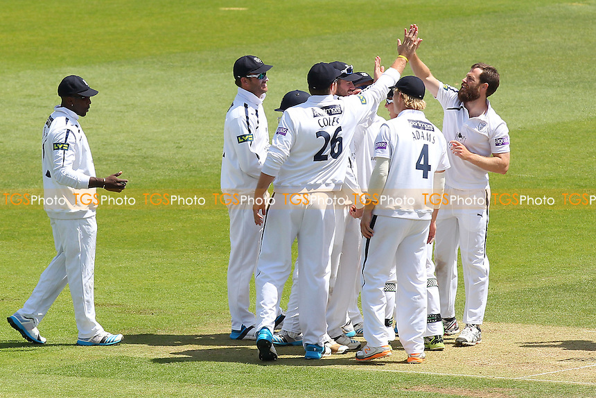 James Tomlinson (R) of Hampshire celebrates the wicket of Tom Westley - Hampshire CCC vs Essex CCC - LV County Championship Division Two Cricket at the Ageas Bowl, West End, Southampton - 17/06/14 - MANDATORY CREDIT: Gavin Ellis/TGSPHOTO - Self billing applies where appropriate - 0845 094 6026 - contact@tgsphoto.co.uk - NO UNPAID USE