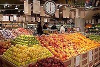 Fresh fruit displayed in a supermarket.
