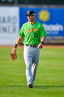 Aaron Schnurbusch (21) of the Great Falls Voyagers walks onto the field before the game against the Ogden Raptors in Pioneer League action at Lindquist Field on August 18, 2016 in Ogden, Utah. Ogden defeated Great Falls 10-6. (Stephen Smith/Four Seam Images)
