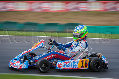 30.08.2013. PFi Circuit near Grantham Lincolnshire England. Round 1 of the CIK-FIA World KF Championships. Friday Free Practice. #16 Sam Snell (GBR) Energy Corse