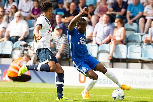 18.07.2015.  Peterborough, Engand. Pre Season Friendly Peterborough United versus Tottenham Hotspur. Kgosi Ntihe (Peterborough United) turns on the ball.