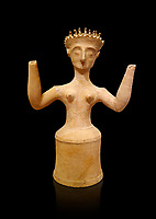 Minoan Postpalatial terracotta  goddess statue with raised arms, Kannia Sanctuary,  Gortys, 1350-1250 BC, Heraklion Archaeological Museum, black background. <br /> <br /> The Goddesses are crowned with symbols of earth and sky in the shapes of snakes and birds, describing attributes of the goddess as protector of nature.
