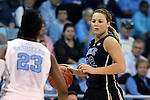02 March 2014: Duke's Tricia Liston (32) and North Carolina's Diamond DeShields (23). The University of North Carolina Tar Heels played the Duke University Blue Devils in an NCAA Division I women's basketball game at Carmichael Arena in Chapel Hill, North Carolina. UNC won the game 64-60.