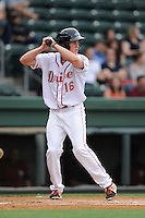 Right fielder Derek Miller (16) of the Greenville Drive bats in a game against the Savannah Sand Gnats on Thursday, May 7, 2015, at Fluor Field at the West End in Greenville, South Carolina. Savannah won in 11, 7-5. (Tom Priddy/Four Seam Images)