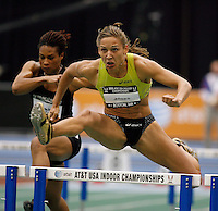 Lolo Jones winning her preliminary heat in the 60m hurdles with a time of 7.91sec. She returned to win the final with a time of 7.88sec. Photo by Errol Anderson,The Sporting Image.