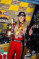 Feb 12, 2017; Pomona, CA, USA; NHRA top fuel driver Leah Pritchett celebrates after winning the Winternationals at Auto Club Raceway at Pomona. Mandatory Credit: Mark J. Rebilas-USA TODAY Sports