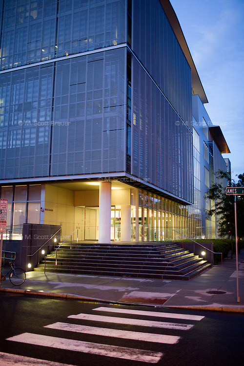 An exterior view of the Media Lab building at MIT in Cambridge, Massachusetts, USA. The new Media Lab building (seen here) was designed by Maki and Associates, and the old Wiesner Building was designed by I. M. Pei.