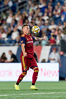 FOXBOROUGH, MA - SEPTEMBER 21: Corey Baird #17 of Real Salt Lake chest trap during a game between Real Salt Lake and New England Revolution at Gillette Stadium on September 21, 2019 in Foxborough, Massachusetts.