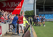 June 4th 2017, AJ Bell Stadium, Salford, Greater Manchester, England;  Rugby Super League Salford Red Devils versus Wakefield Trinity; Wakefield players and fans celebrate James Batchelor's winning try