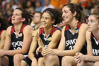 6 April 2008: Stanford Cardinal (L-R) Jillian Harmon, Cissy Pierce, Morgan Clyburn, and Hannah Donaghe during Stanford's 82-73 win against the Connecticut Huskies in the 2008 NCAA Division I Women's Basketball Final Four semifinal game at the St. Pete Times Forum Arena in Tampa Bay, FL.